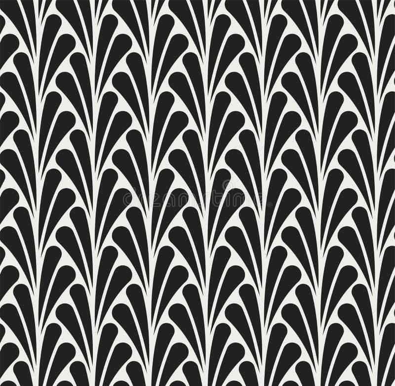 Japoński Ornamentacyjny Wektorowy tło Art Deco Kwiecisty Bezszwowy wzór Geometryczna dekoracyjna tekstura ilustracji