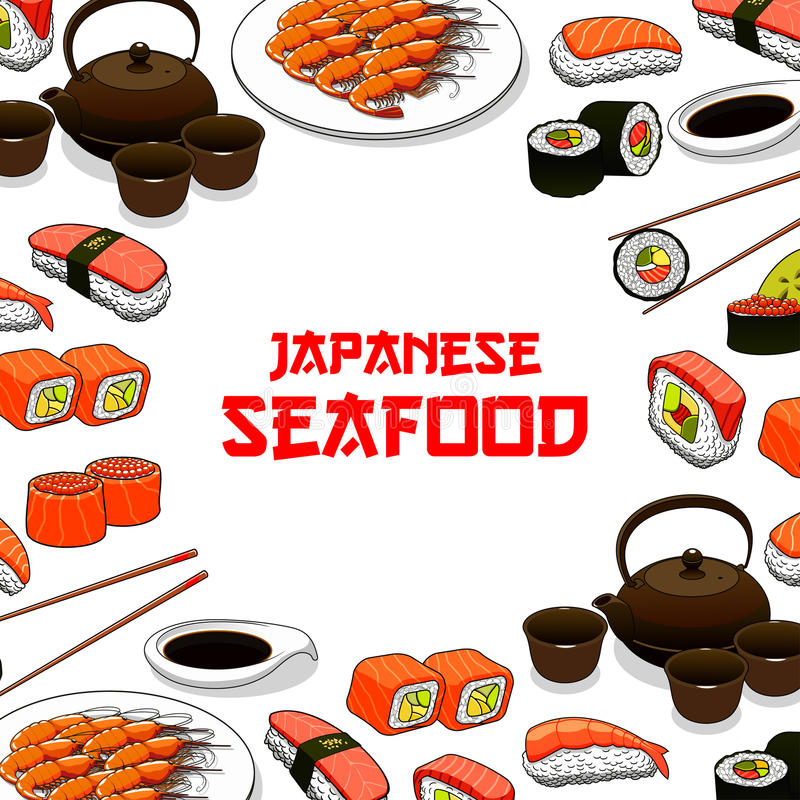 Japoński owoce morza suszi ryba sashimi wektoru plakat ilustracji