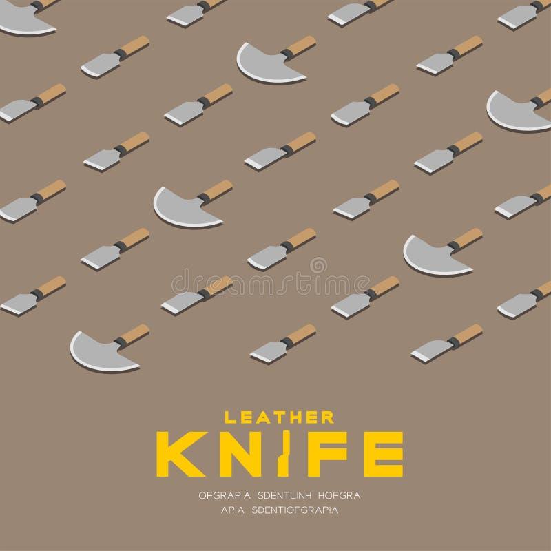 Japoński rzemienny noży 3D isometric wzór, rzemiosła pojęcie nożowy plakat, i sztandaru kwadrat projektujemy ilustrację odizolowy royalty ilustracja