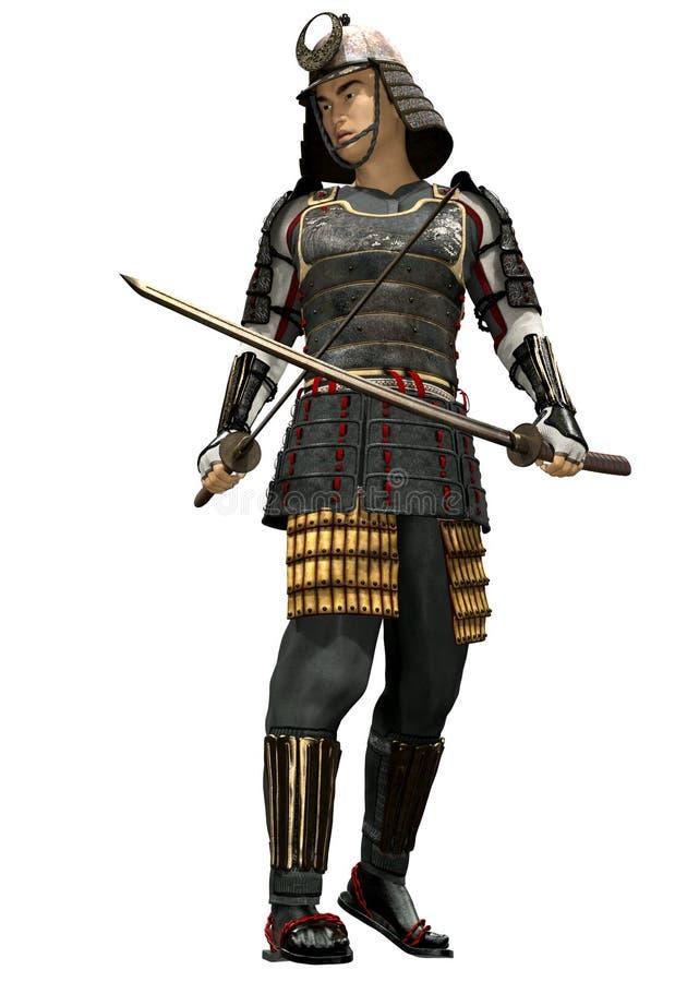 Japoński Samurai Soldier 3D Render ilustracja wektor