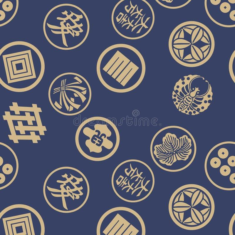Japoński samuraja emblemata wzór ilustracji
