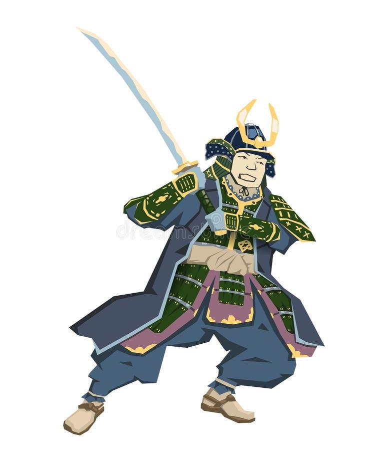 Japoński samuraja wojownik z katany sward w bój pozyci również zwrócić corel ilustracji wektora Mieszkanie styl, odosobniony na b ilustracji