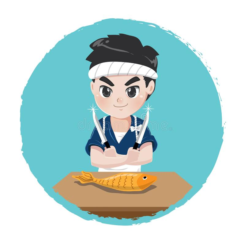 Japoński szef kuchni z nożem i rybą royalty ilustracja