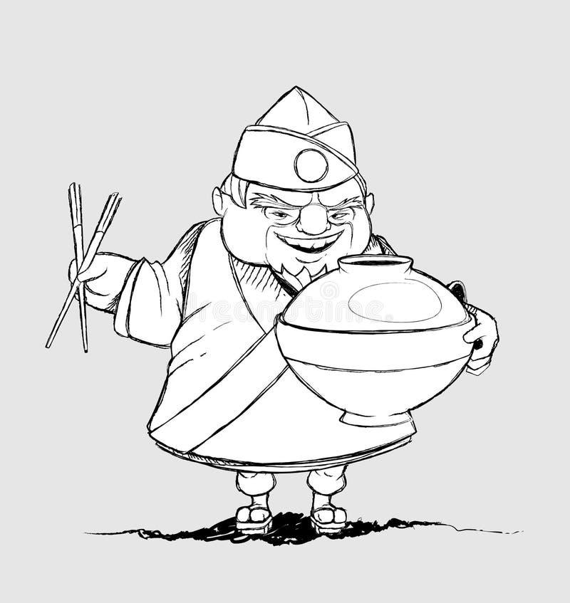 Japoński szef kuchni z podpisu naczyniami. Freehand dr ilustracja wektor
