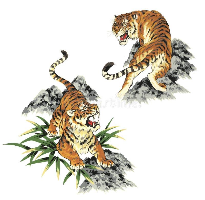 japoński tygrys royalty ilustracja