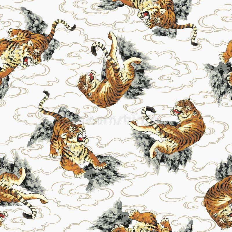Japoński tygrysa wzór ilustracji