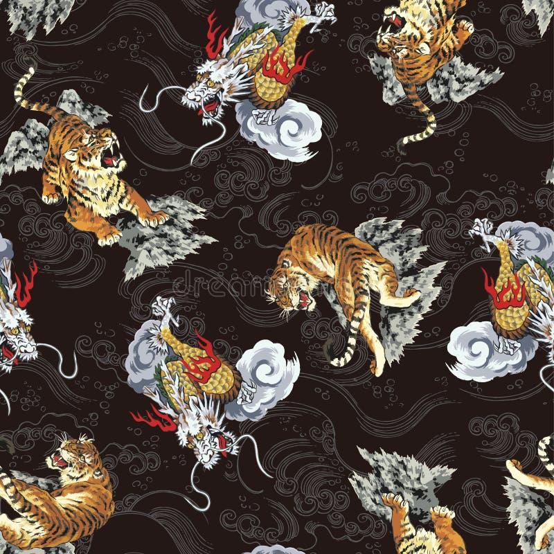 Japoński tygrysa wzór ilustracja wektor