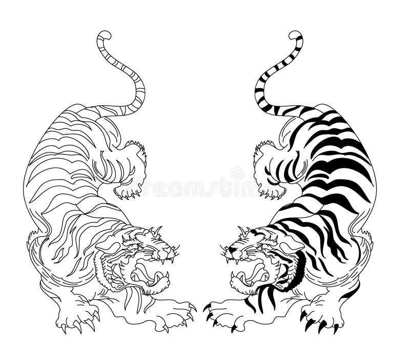 Japoński Tygrysi wektor i ilustracyjny projekt na czarny i biały tle ilustracja wektor
