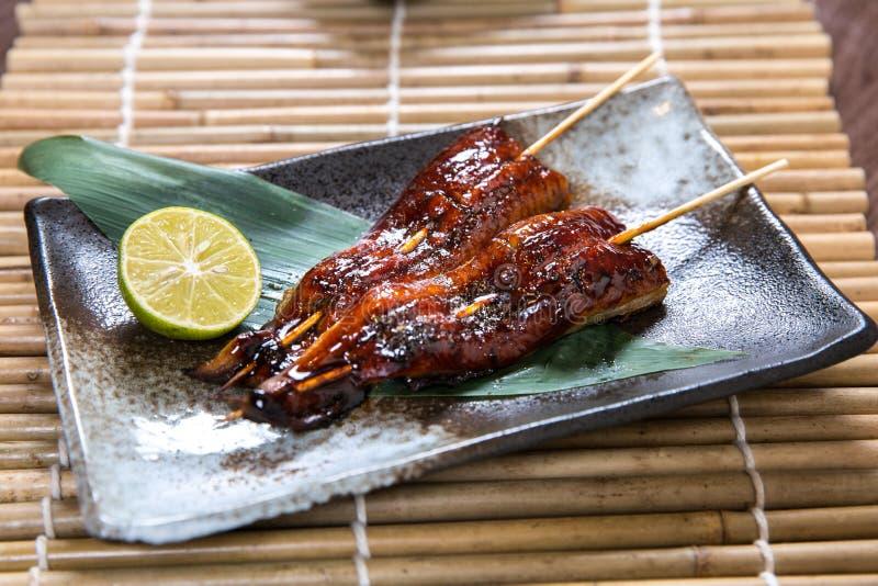 Japoński unagi, mięso (węgorza Kushiyaki, Skewered i Piec na grillu) fotografia stock