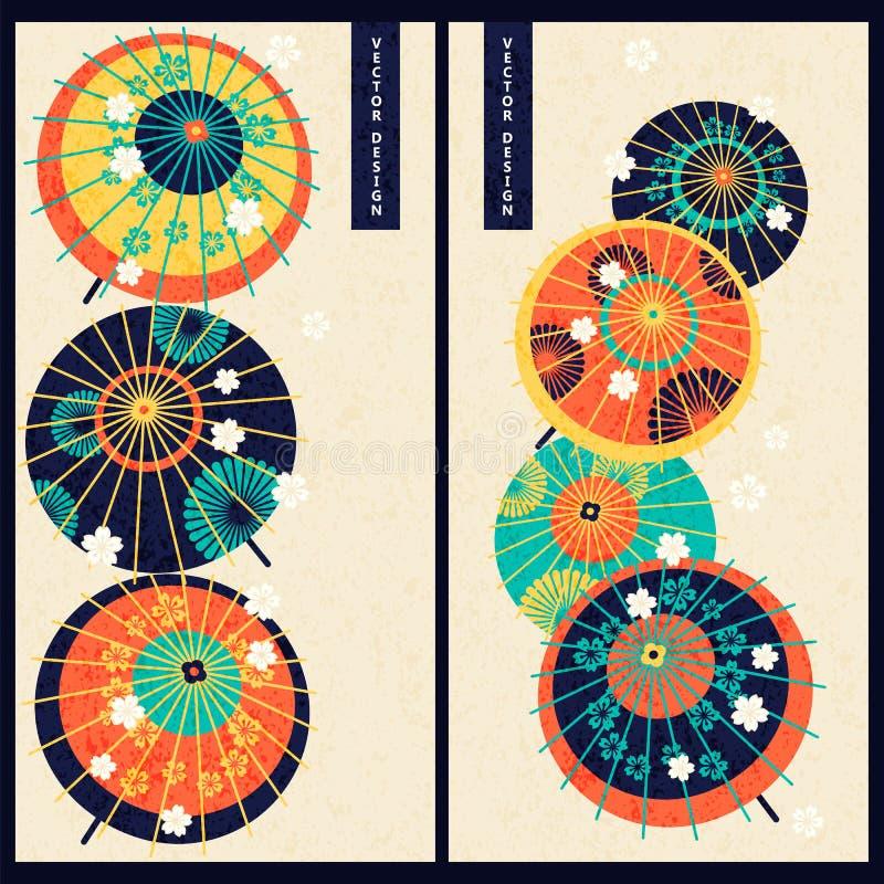 Japoński ustawiający z dwa kartami z kolorowego rocznika japońskimi tradycyjnymi parasolami projekt dla prezenta, druk, biznes, k ilustracji