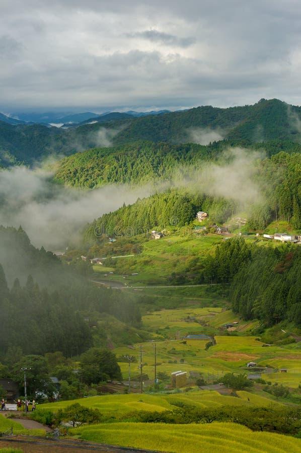 Japoński wiejski krajobraz ryż uprawia ziemię w wysokich górach obraz royalty free