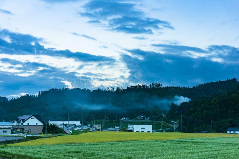 Japoński wsi wioski krajobraz z polami i górami zdjęcie royalty free