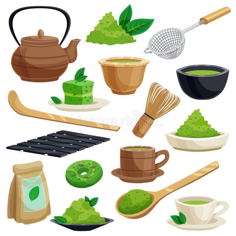 Japońskie Herbacianej ceremonii ikony Ustawiać ilustracji