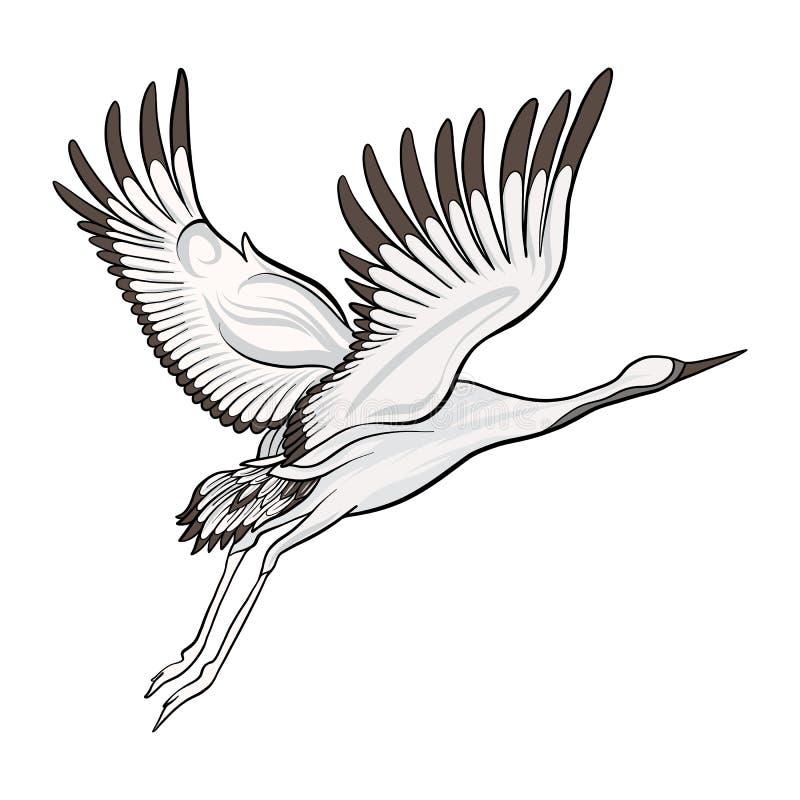 Japońskiego żurawia odosobniony rysunek projekta ilustraci zapasu use wektor twój ilustracji