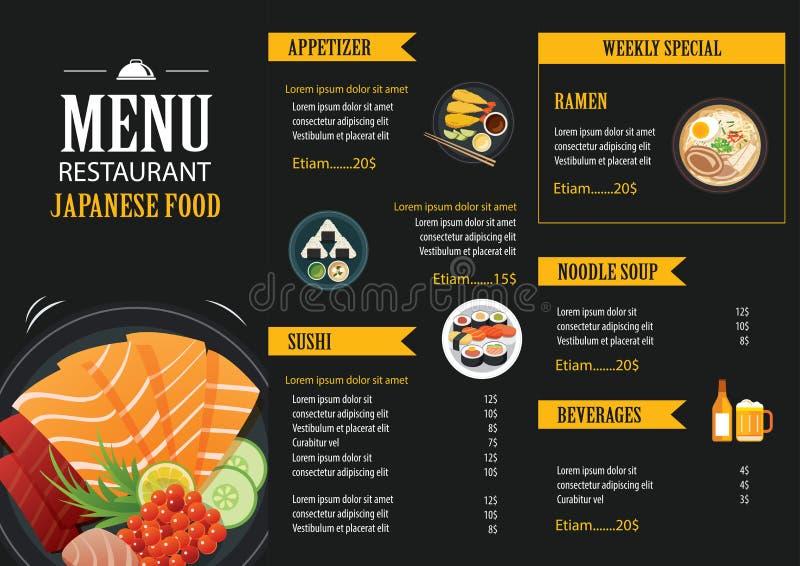 Japońskiego karmowego menu broszurki projekta restauracyjny szablon ilustracja wektor