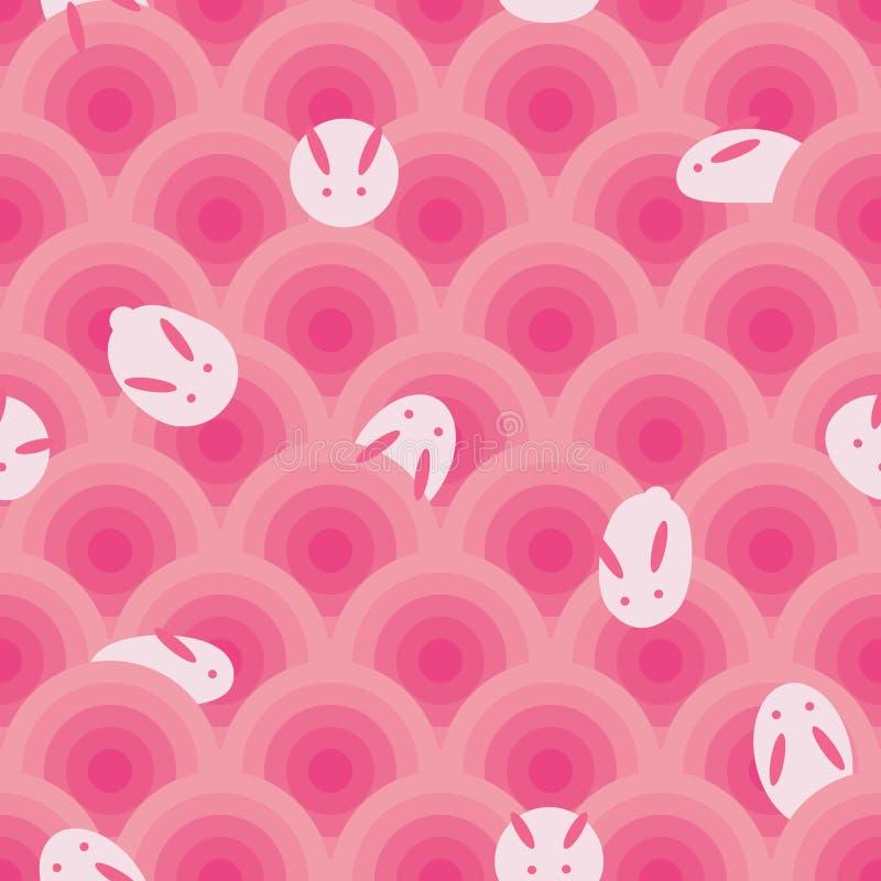 Japońskiego królika okręgu mochi bezszwowy wzór royalty ilustracja