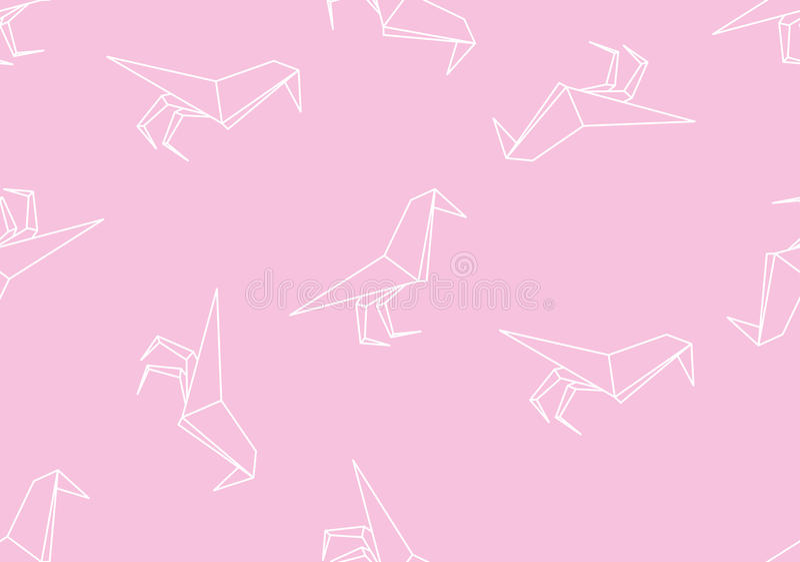 Japońskiego origami czerni ptasi bezszwowy liniowy wzór na różowym tle ilustracji