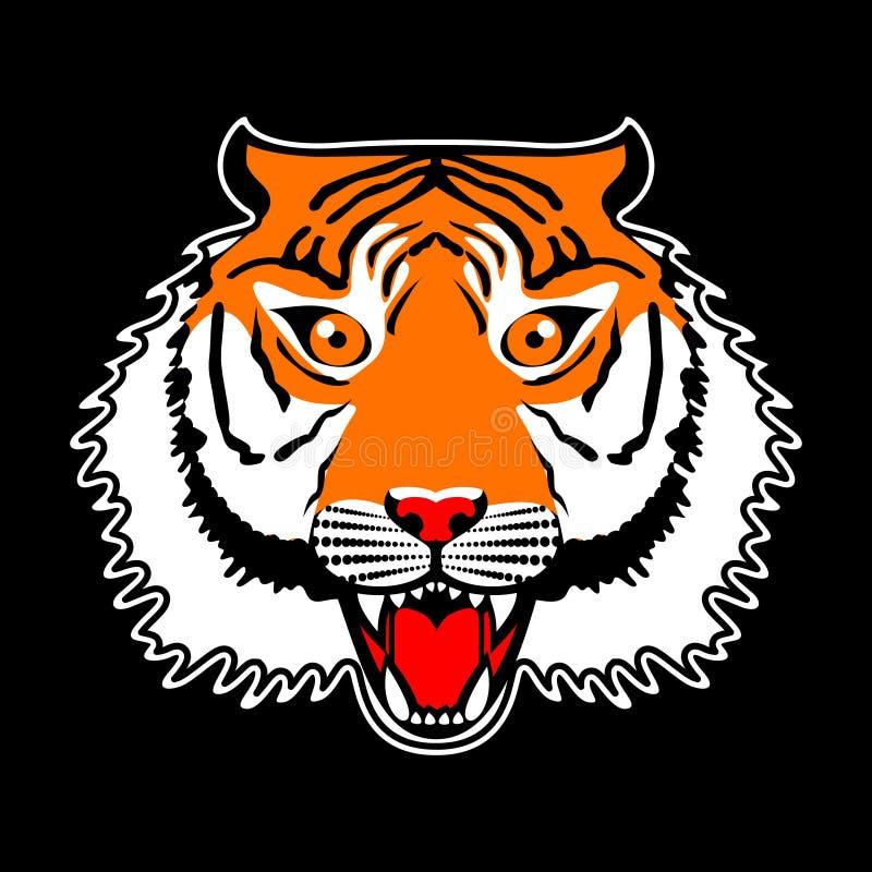 Japońskiego stylu łaty tygrysia wektorowa hafciarska ilustracja dla koszulki, trójnik grafiki i inny, używa Tygrysi Graficzny Wek ilustracja wektor