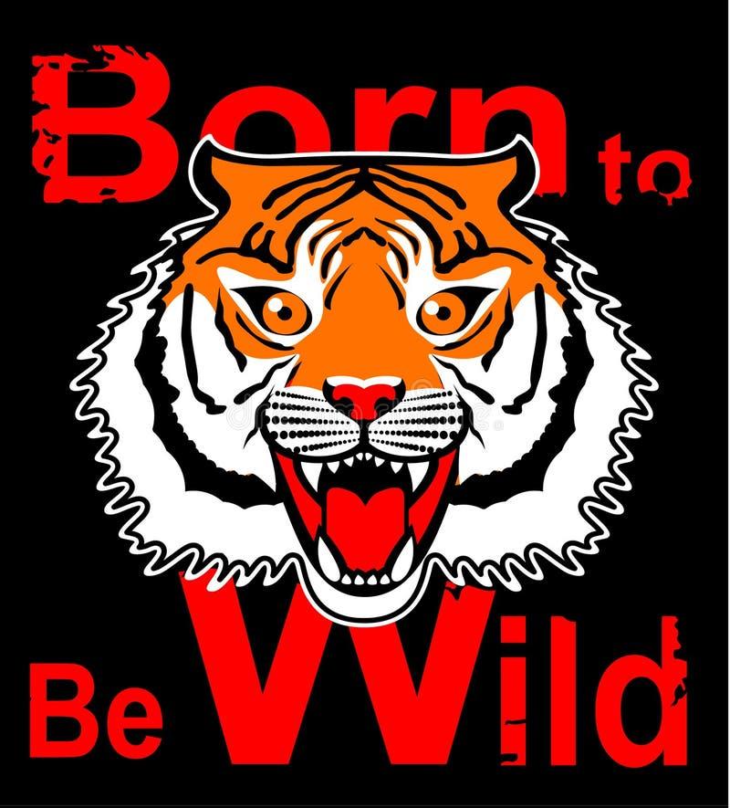 Japońskiego stylu łaty tygrysia wektorowa hafciarska ilustracja dla koszulki, trójnik grafiki i inny, używa Znoszący być dzikim T royalty ilustracja