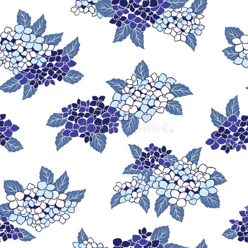 Japońskiego stylu hortensi wzór, royalty ilustracja