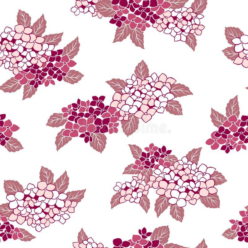 Japońskiego stylu hortensi wzór, ilustracja wektor