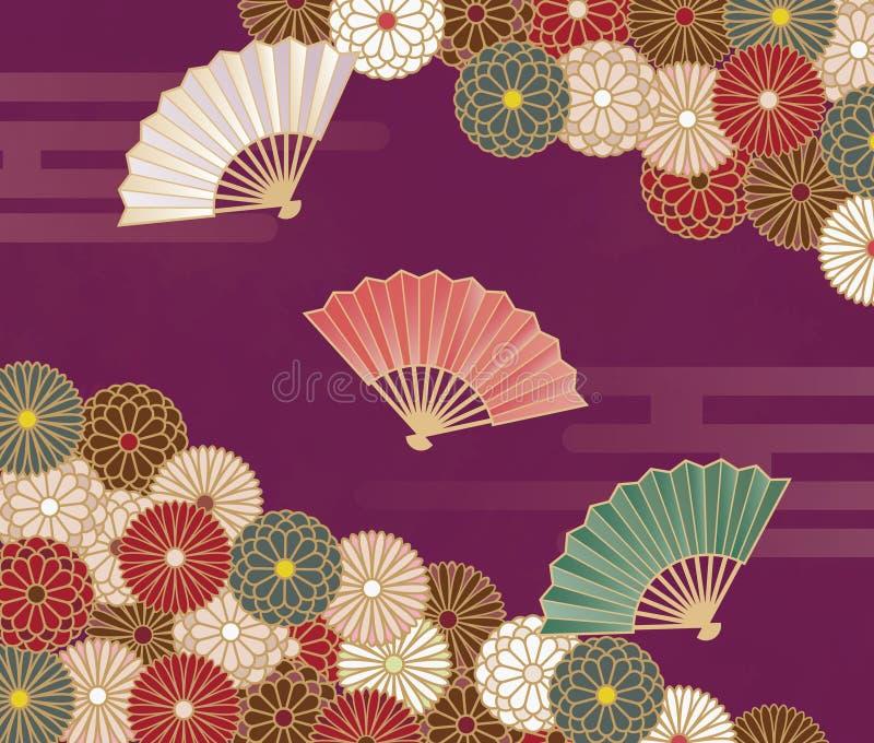 Japońskiego stylu kwiecisty wzór z chryzantemami i ręka wachlujemy ilustracji