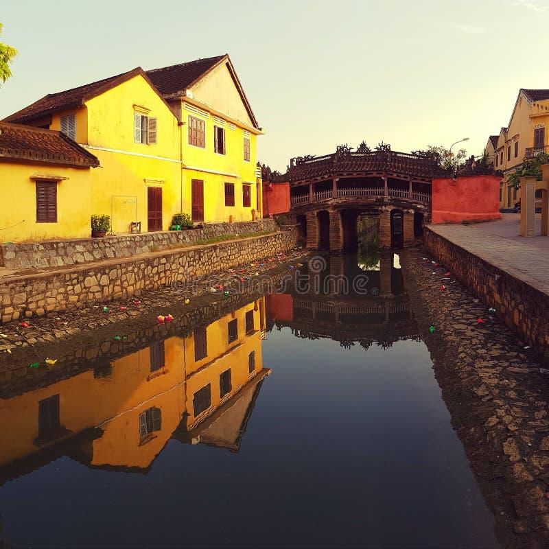 Japońskiego stylu most przy Hoi, Wietnam obraz royalty free