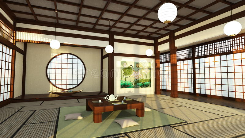 Japońskiego stylu pokoje ilustracja wektor