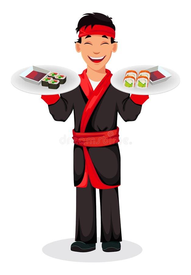 Japońskiego szefa kuchni suszi kulinarne rolki ilustracji