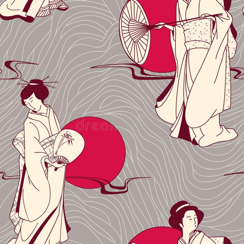 Japońskiej Gejszy bezszwowy wzór ilustracja wektor