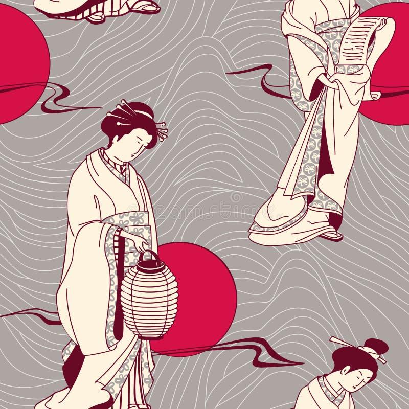 Japońskiej Gejszy bezszwowy wzór royalty ilustracja