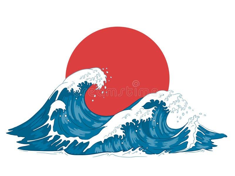 Japo?czyk fala Japo?skie du?e fale, rozszala?y ocean i rocznik wody morskiej wektoru ilustracja, ilustracja wektor
