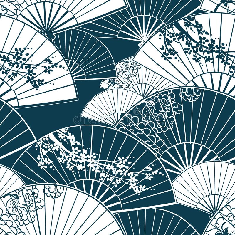 Japo?ska tradycyjna wektorowa ilustracyjna zabawa wzoru peonia Sakura obrazy royalty free