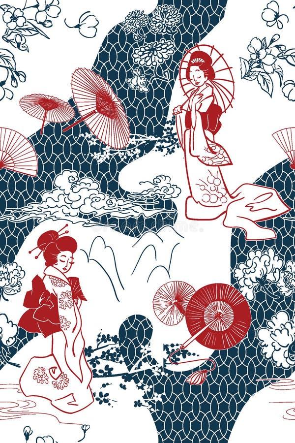 Japo?ski tradycyjny wektorowy ilustracyjny oruental t?o wz?r zdjęcia royalty free