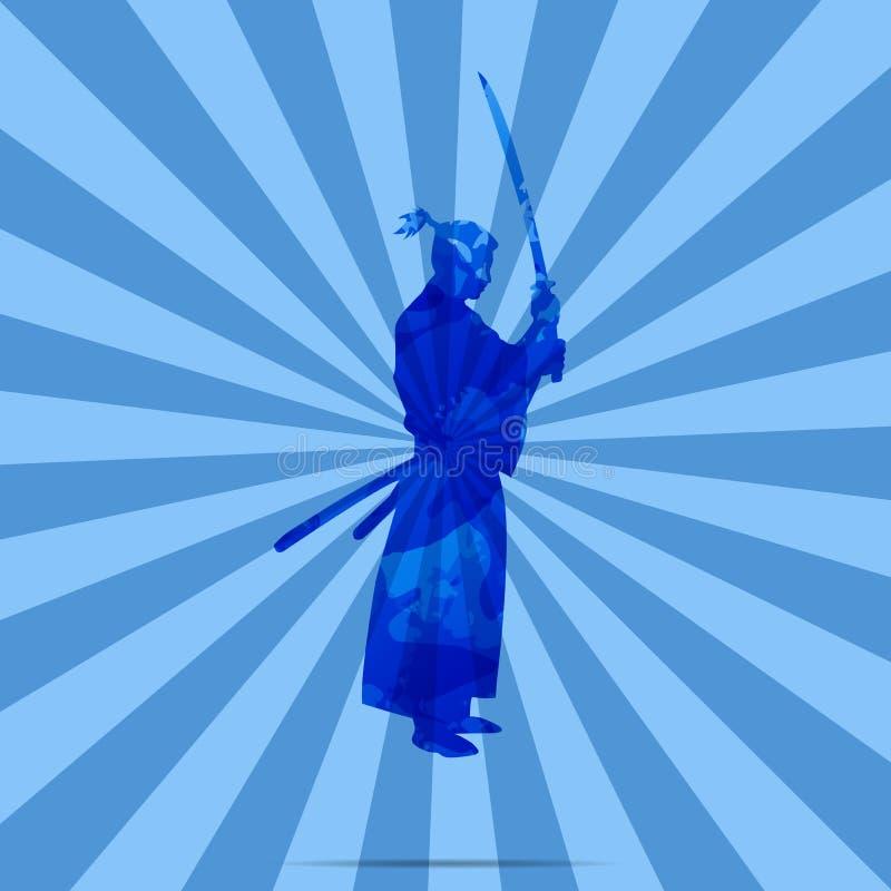 Japo?ski wojownik i fechmistrz, samuraj ilustracja wektor