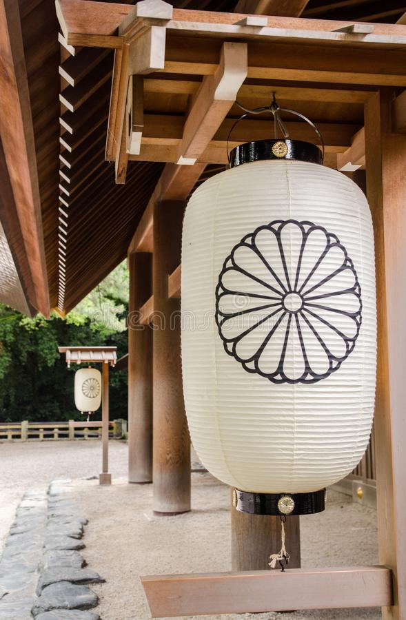 Japo?skiego stylu lampion przy Atsuta ?wi?tyni? lcated w Atsuta-ku, (Atsuta-jingu) zdjęcie royalty free
