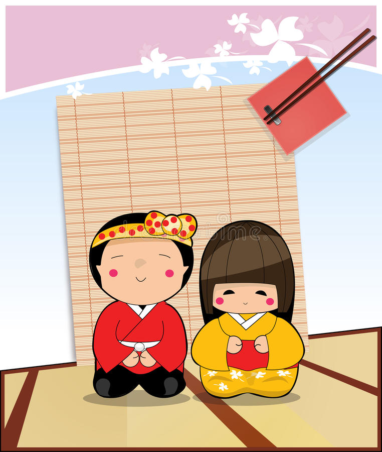 Japonés del muchacho y de la muchacha del carácter fotografía de archivo