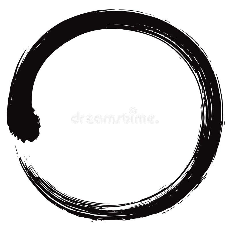 Japonês Enso Zen Circle Brush Vetora ilustração do vetor