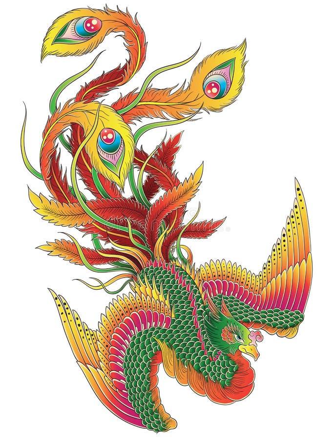Japonês Phoenix ilustração stock