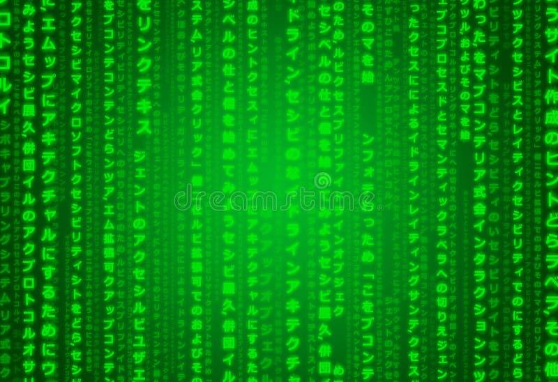 Japonês verde neo futurista com o papel de parede da ilustração do fundo da textura do teste padrão de Kanji Techno Digital Orien ilustração do vetor