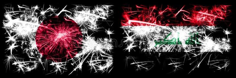 Japon, Japon contre Irak, célébration du Nouvel An irakien feux d'artifice drapeaux de fond Combinaison de deux concepts abstrait illustration de vecteur
