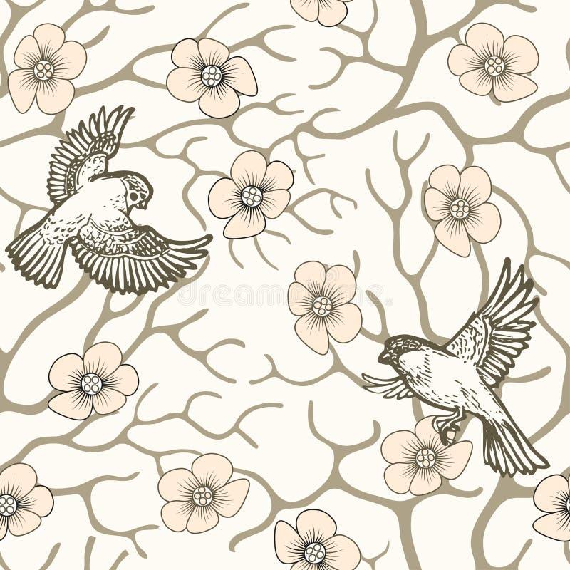 Japonais et style chinois sans couture de modèle d'oiseaux de fleur et de vol de Sakura de ressort illustration de vecteur