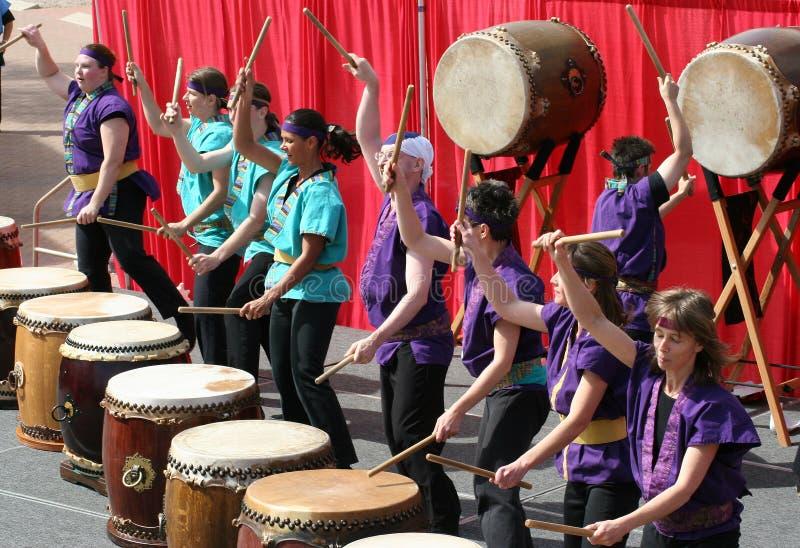 Japonais Taiko Drumming images libres de droits