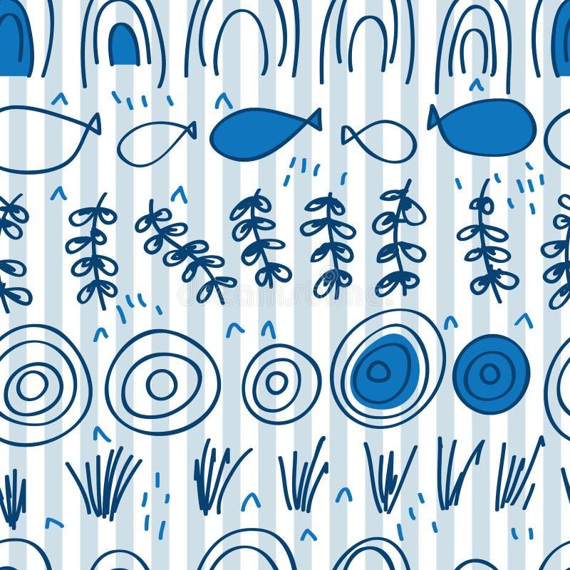 Japonia błękita stylu horyzontalny bezszwowy wzór ilustracji