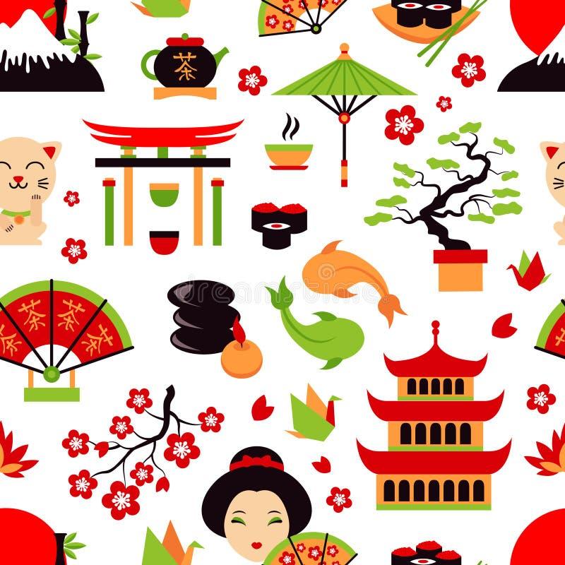 Japonia bezszwowy wzór ilustracji