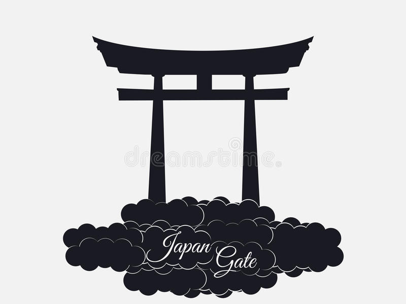 Japonia brama odizolowywająca na białym tle, torii brama, japońscy dziąsła royalty ilustracja