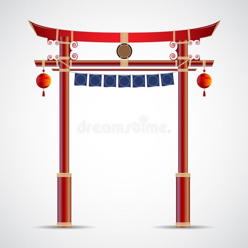 Japonia bramy kultura wektorowa ilustracja odizolowywająca na białym backgr royalty ilustracja