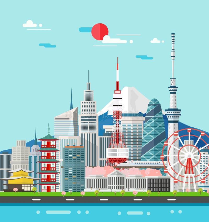 Japonia budynków podróży punkt zwrotny i miejsce również zwrócić corel ilustracji wektora ilustracja wektor