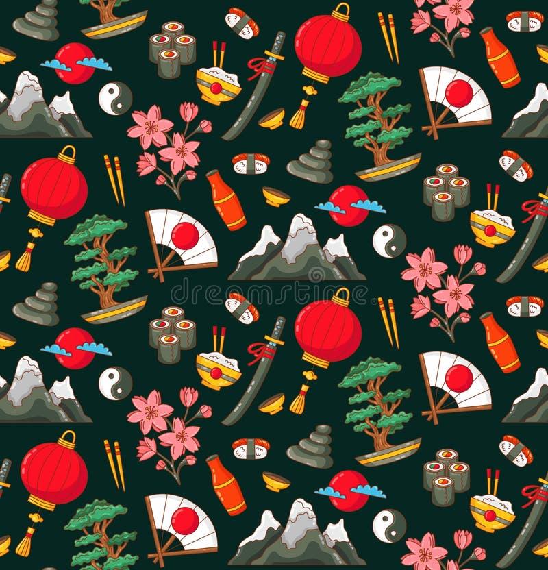 Japonia doodles bezszwowego wektoru wzór royalty ilustracja