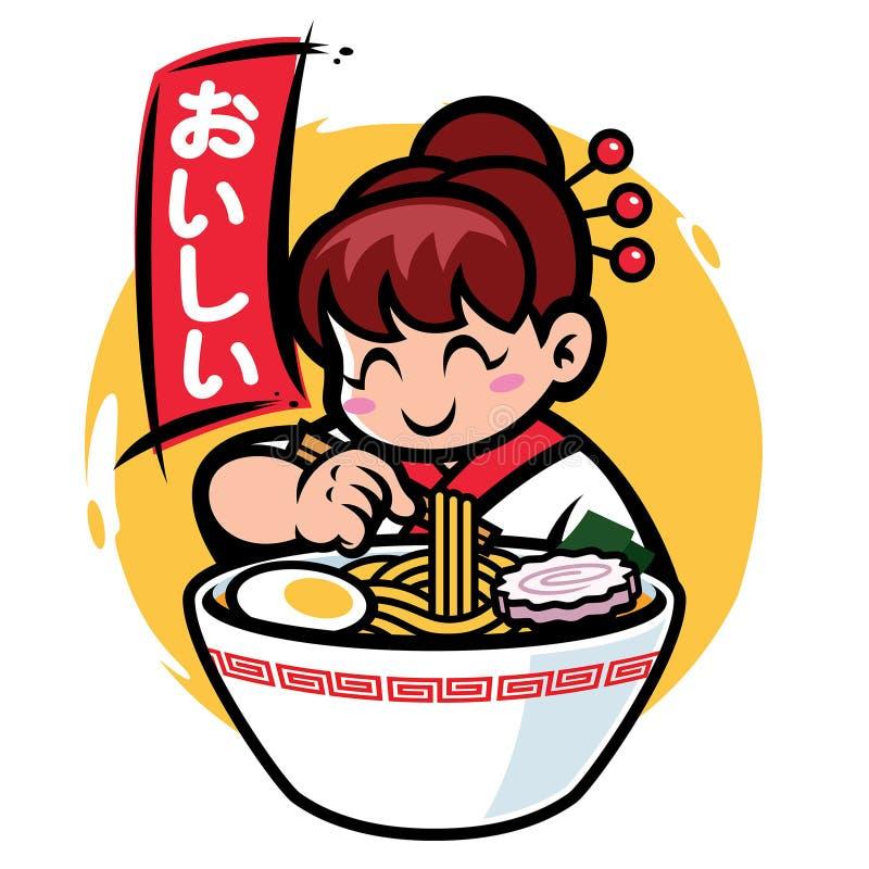 Japonia dziewczyny maskotka je ramen z Japan słowa sposobem wyśmienicie royalty ilustracja